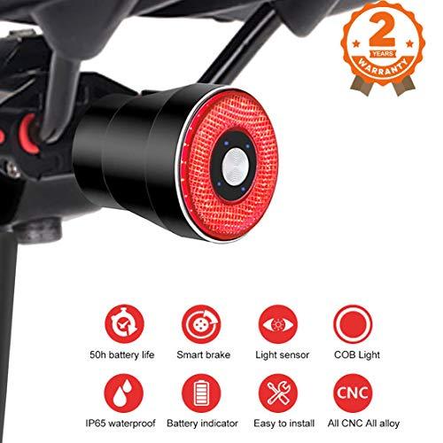 Luz Trasera de Bicicleta Inteligente Recargable USB, Super Brillante Rojo Luz LED Bici, Impermeable, Faro Trasero Bici para Máxima Seguridad de Ciclismo