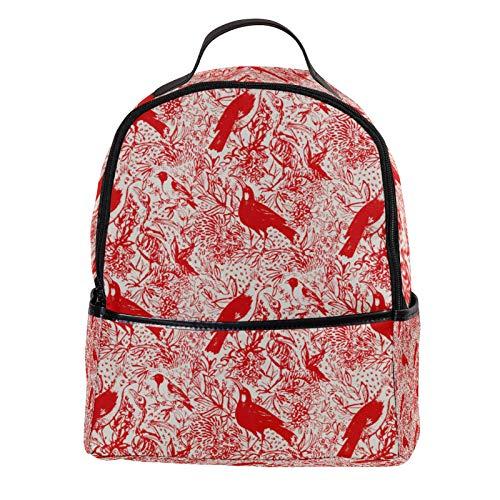 KAMEARI Mochila para la Escuela de Aves Rojo Sangre Pintura Casual Daypack para Viajes con Botella Bolsillos Laterales