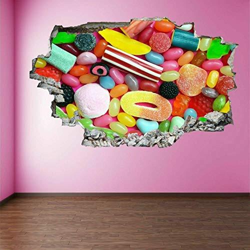 Pegatinas de pared Pegatinas de arte de pared de caramelo colorido calcomanía mural cafetería tienda hogar cocina decoración ER21
