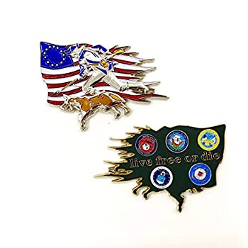 US Military Department of Defense Colonial Flag with Patriot & K-9 Dog Live Free or Die US Navy Air Force Marines Army Coast Guards Challenge Coin