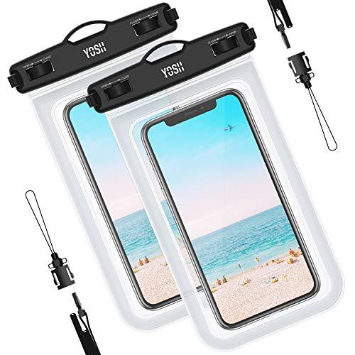 YOSH wasserdichte Handyhülle Tasche Beutel (2 Stück) Schnorcheln Schwimmen Unterwasser für Samsung S9 S8 S7 S6 A5 A7 für iPhone 11 Pro XR X 8 7 6 6s Plus Lumia Huawei, bis zu 6.5 Zoll
