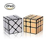 Roxenda Set Pack de 2 Espejo Dorado S Plata Espejo de Viento Irregular Speedcubing 3 x 3 x 3 Velocidad Cubo Twisty Box Puzzle