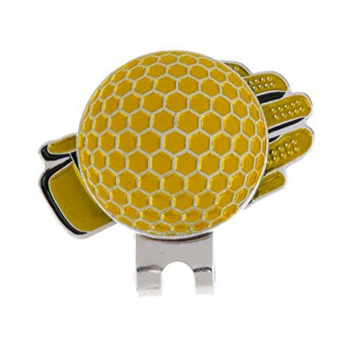 Gazechimp Clip De Chapeau Forme De Gant En Acier Inoxy Accessoire Golfeur Marqueur De Balle De Golf - Jaune, 25 mm