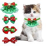 KAMEUN Collar de Navidad Perro Pajarita de Mascotas de Navidad Pajaritas Ajustable de Navidad Gatos con Campanas para Mascotas Pequeñas Corbatas Accesorios de Aseo de Perros 4 Piezas