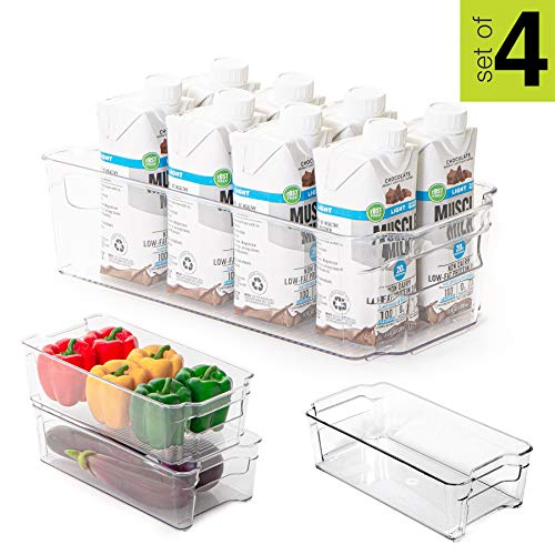 Smart Design Stackable Refrigerator Bin - (6 x 12 Inch) - w/Handle - BPA Free Polyethylene - for Fridge, Freezer, Pantry Organization - Kitchen [Clear] - Set of 4