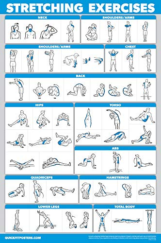 """QuickFit Stretching Workout Exercise Poster - Stretch Routine (Laminated, 18"""" x 27"""")"""