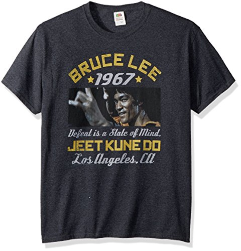 American Classics Unisex Bruce Lee Box Smirk Adult Short Sleeve T-Shirt, Black Heather, Large