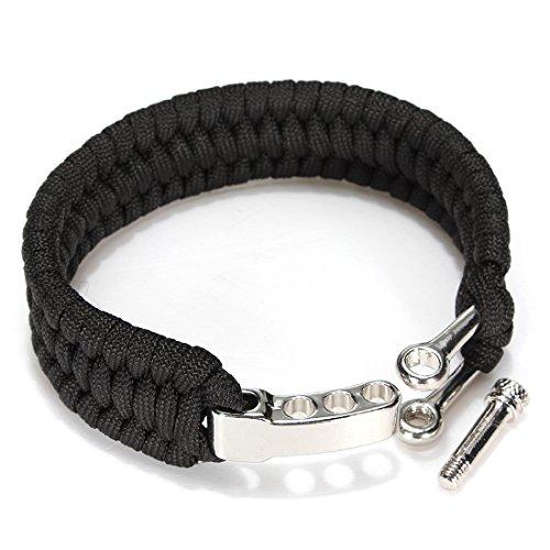 TENGGO 7 Brins Bracelet Paracorde Chaîne Cordon Main Ring avec Boucle De Manille De Dégagement Rapide pour La Survie-Noir