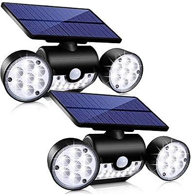 Upgrade Solar Motion Sensor Lights Outdoor, Super Bright LED Lamp IP65 Waterproof 360° Adjustable Solar Powered Wall Light Dual Head Spotlight Flood Security Lights for Yard Garage Patio Porch, 2 Pack