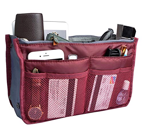 Vercord Purse Organizer Insert for Handbags Bag Organizers Inside Tote Pocketbook Women Nurse Nylon 13 Pockets Burgundy Medium