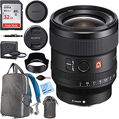 Sony FE 24mm F1.4 GM G Master Full Frame Wide Angle E-Mount Lens (SEL24F14GM) Bundle with Deco Gear Photography Backpack + 67mm UV Polarizer & FLD Filter Kit and Accessories from Sony