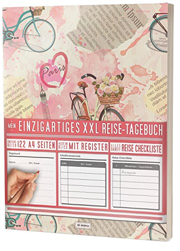 """Mein Reisetagebuch • 122 Seiten, Register, Kontakte / Neue Auflage mit Reise Checkliste / PR401 """"Paris Collage"""" / DIN A4 Soft Cover"""