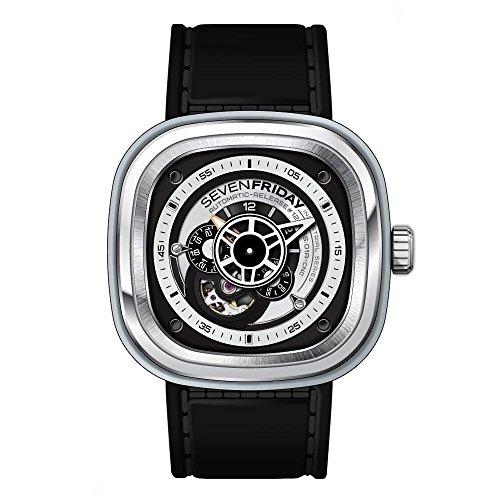 Seven Friday Men's & Women's Automatic Black Calfskin Mineral Glass Watch P1B-01