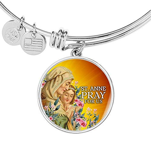 Express Your Love Gifts Catholic St. Anne Circle Bangle - Pulsera de acero inoxidable de 18 quilates dorado