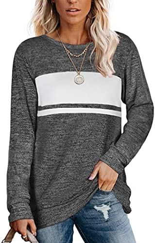 Saloogoe Womens Sweatshirts Crewneck Color Block Sweaters Long Sleeve Tunic Tops