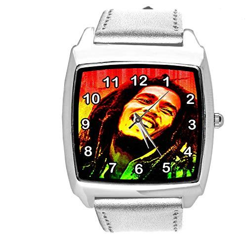 Taport® Armbanduhr Analog Quarz mit Echtlederband Silber Quadrat für BOB Marley Fans E2