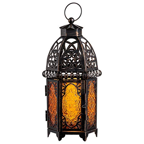 DECORKEY Vintage Large Size Decorative Candle Lantern, 12.8inch Moroccan Style Hanging Lantern,...