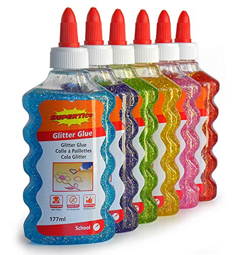 Supertite Glitter Glue, Especial Slime y Manualidades - pack de 6 colores