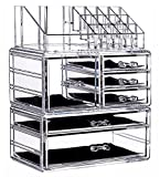 Makeup Organizer Countertop Acrylic,3 Piece Stackable Design Make Up Cosmetics Storage Stand with 6 Drawers,For Cosmetics,Skincare,Vanity, Bathroom,Clear By Cq acrylic