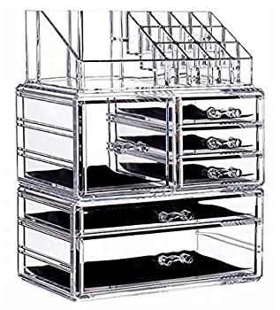 Makeup Organizer Countertop Acrylic,3 Piece Stackable Design Make Up Cosmetics Storage Stand with 6 Drawers,For Cosmetics,Skincare,Vanity Bathroom,Clear By Cq acrylic