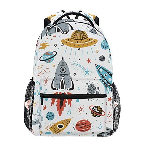 Jeansame Mochila escolar bolsa portátil bolsas de viaje para niños, niñas, mujeres, hombres, planeta, estrellas, luna, sol, cohetes, galaxia, universo espacial