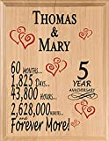 Personalized Anniversary Sign Wedding Anniversary Custom Name & Year Gift for Husband Wife Couple Him Her Man Woman Select 1 to 80 Years