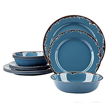 Melamine Camping Dinnerware Set - Yinshine 12 PCS Dishes Set Service for 4, Blue