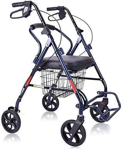 ZHANGYY Rollator Shopping Walker Senioren Walking Frame Aid Mobilität Trolley Kinderwagen Leichter Rollerwagen mit Sitz und Korb, 4 Räder für Eldly