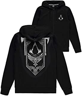 Assassin's Creed Valhalla - Blason Homme Sweat-Shirt zippé à Capuche Noir, , Regular / Coupe Standard