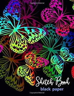 Sketch Book Black Paper: 109 pages of 8.5