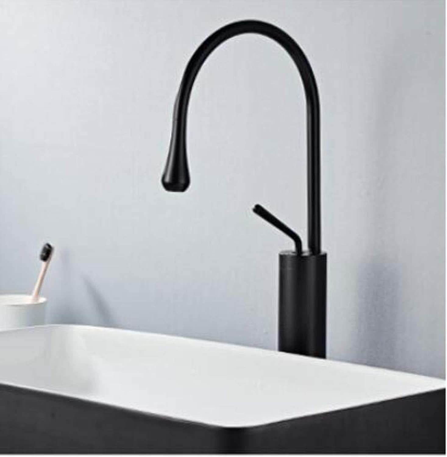 Kai&Guo White or Black Bathroom Basin Faucet Hot and Cold Single Handle Lavatory Mixer Tap Brass Material North Europe Style,black long