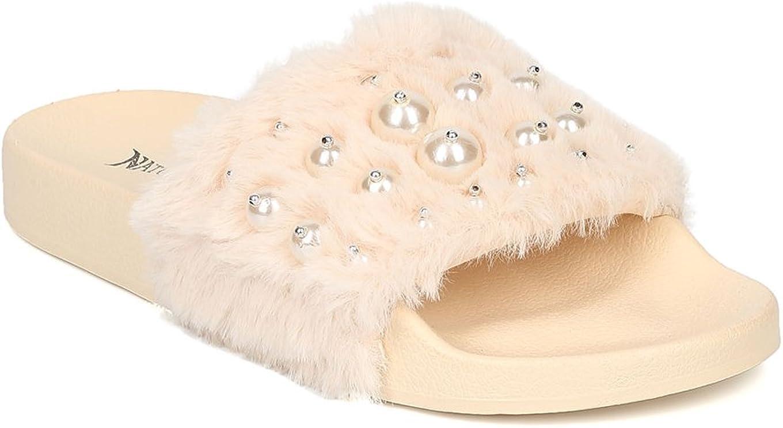 Alrisco Women Faux Fur Open Toe Faux Pearl Footbed Slide HB83 - Beige Mix Media (Size: 7.0)