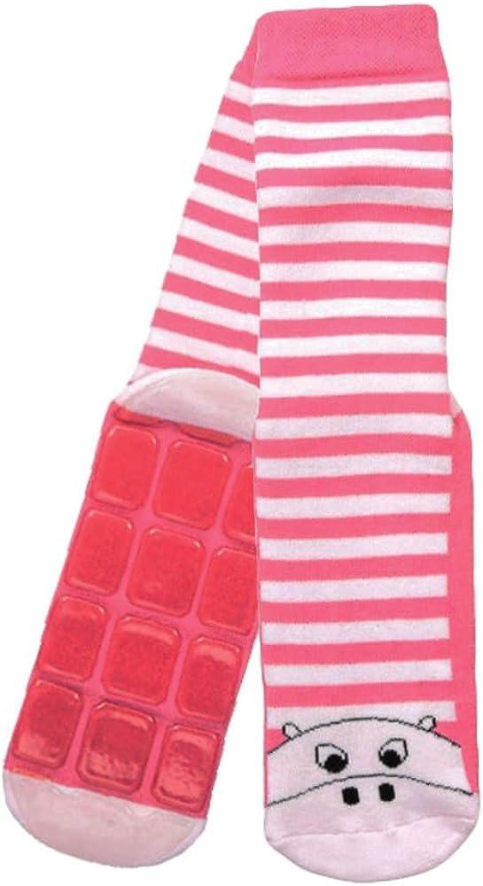 Country Kids Little Girls' Non Skid Anti Slip Striped Slipper Socks Cute Pig, Pack of 1