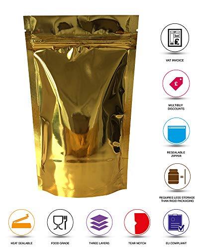 Rightpak Doré brillant Feuille d'aluminium Stand Up Pochettes avec fermeture Éclair et refermable usure encoche pour la nourriture Emballage (format) SP4 - 16cm x 23cm + 9cm