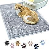 VIVAGLORY Katzenstreu Matte Groß 90 × 60cm, Katzenklo Matte Wasserdicht, Weich für die Pfoten, Leicht zu reinigen, Grau
