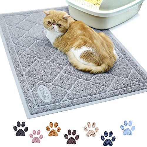 VIVAGLORY Katzenstreu Matte, Groß 90 × 60cm, strapazierfähige & wasserdichte katzenklo Matte, leicht zu reinigen, Grau