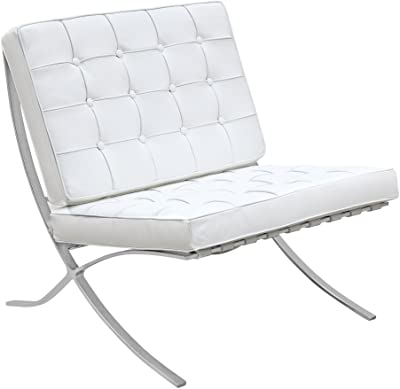 Lemoderno Modern Leather Pavilion Chair (White)
