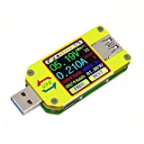 MakerHawk UM34 USB 3.0 Multimeter USB Voltmeter Ammeter USB Voltage Current Battery Power Capacity Charger Temperature Digital Meter Tester Cable Resistance USB Load Tester Color LCD Display