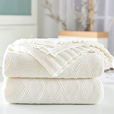 Longhui bedding White Cotton Throw Blanket for Couch Sofa Chair Soft Warm Cable Knit Decorative Blankets, 50 x 60 inch Gift a Washing Bag,1.76pounds