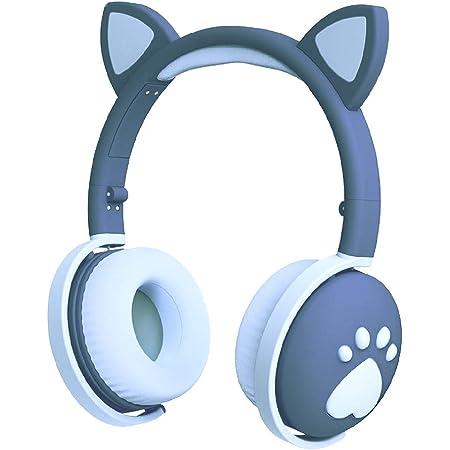 Auriculares para niños, auriculares con Bluetooth, oreja de gato, con luz LED, auriculares inalámbricos plegables sobre la oreja con micrófono y control de volumen, compatible con radio FM / entrada auxiliar, compatible con iPhone / iPad / Kindle / laptop / PC / TV para niños, chicos, color azul