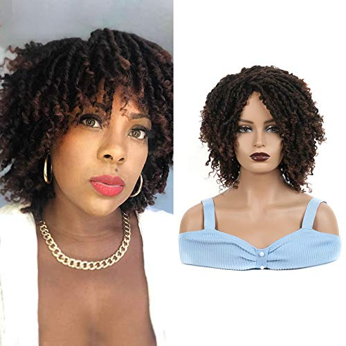 Short Dreadlock Wig Twist Wigs for Black Women Sidaila Faux Locs Afro Braids Crochet Wig Synthetic Heat Resistant Wig for African American Women Daily Party Replacemen Wig (1BT30)