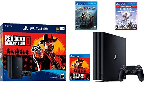 2019 Newest Sony PlayStation 4 Pro Console Red Dead Redemption 2 Bundle W /Game :Horizon Zero Dawn Complete Edition Hits , God of War
