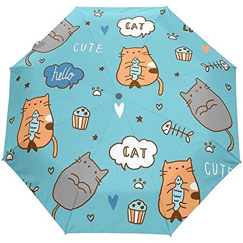 Nette Katze Cartoon Tier Auto Open Umbrella Sun Regen Regenschirm Anti UV Folding Compact Automatic Umbrella