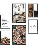 Heimlich® Premium Poster Set | OHNE Bilderrahmen | Stilvolles Set mit passenden Bilder als Wohnzimmer Deko | 2 x DIN A3 & 4 x DIN A4 - ca. 30x42 & 21x30 | » Floral Simplicity «
