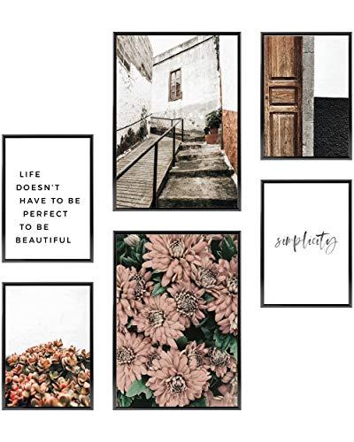 Heimlich Cuadros Decorativos - Decoración Colgante para Paredes de Sala, Dormitorios y Cocina - Arte Mural - 2 x A3 (30x42cm) et 4 x A4 (21x30cm) | Sin Marcos »Floral Simplicity «
