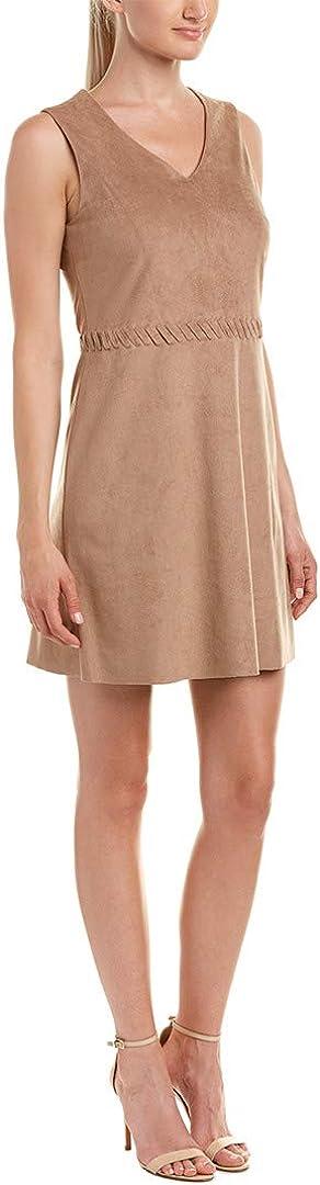CeCe by Cynthia Steffe Women's Jewel-s/l V Neck Suede Dress