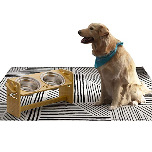 """YEIRVE 8"""" Tall Elevated Dog Cat Bowls, 4 Adjustable Height Raised Food and Water Bowl for Large and Medium Sized Dogs,Stand Feeder with 2 Stainless Steel Bowl, Meet The All Pets Feeding Needs(36oz)"""