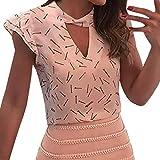 Tank Tops Damen Kolylong® Frauen Elegant Spitze Ärmellose Blusen mit Schleife Festlich Chiffon Oberteile Weißes Business Hemden Sommer Sleeveless Shirt Tunika T-Shirt Sweatshirt (L, Pink-b)