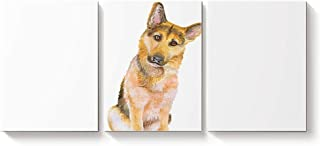3 Piece Canvas Wall Art Oil Painting Home Art Decor,Cute 3D German Shepherd Dog Animal Pattern Pictures Artworks for Office,Stretched by Wooden Frame,Ready to Hang,28x32inx3 Panels