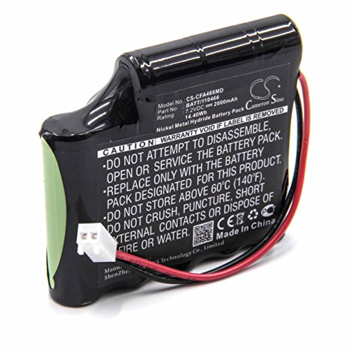 vhbw Batería NiMH 2000mAh (7.2V) para tecnología médica, estimulador muscular Cefar Myo REH AB4 como BATT/110466, 120466.
